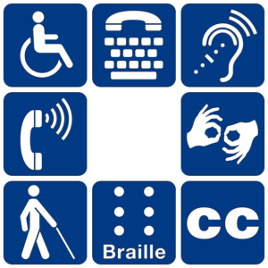 A collection of pictograms used by the United States National Park Service, representing accessibility methods, including Braille, closed captioning, sign language, wheelchairs, etc.