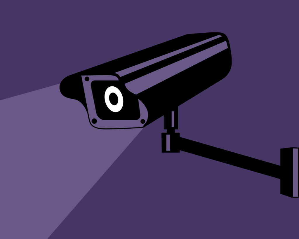 An ominous surveillance video camera