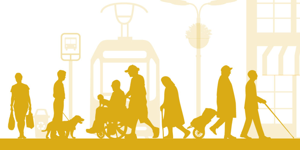 A group of silhouetted people with varying mobility and and visual abilities on a train platform