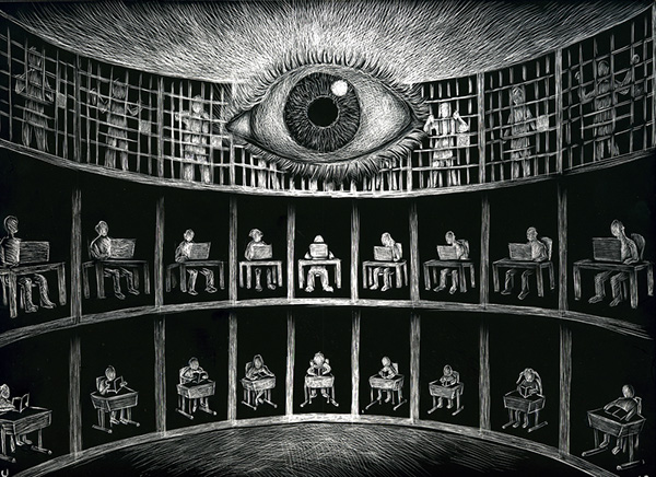 abstract illustration of a panopticon, with one eye in the center watching prisoners